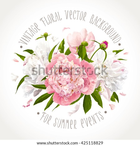 Luxurious pink, white peony flowers and leaves composition - stock vector
