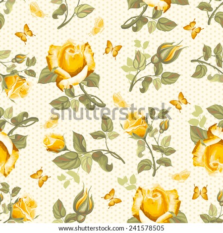 Luxurious retro floral seamless pattern - roses. Vector illustration. - stock vector