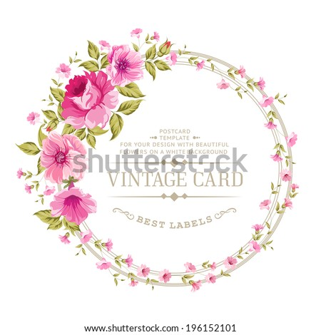 Luxurious vintage card of color peony label. Vector illustration. - stock vector