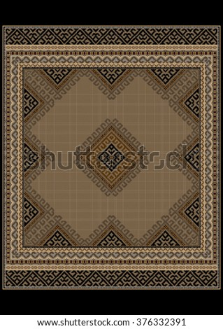 Luxurious vintage oriental rug with ethnic pattern with brown and yellow shades   - stock vector