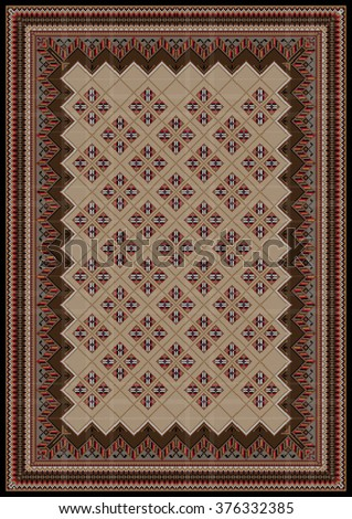 luxurious vintage oriental rug with original pattern in brown and red shades - stock vector