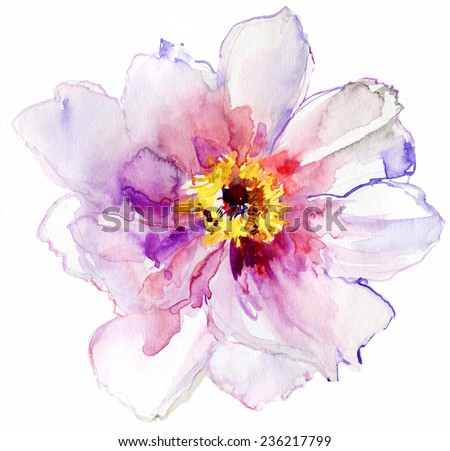 Luxurious white peony flower painted in pastel colors. Vector. - stock vector