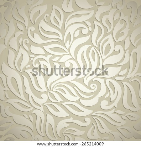 Luxury abstract floral wallpaper, beige textured design - stock vector