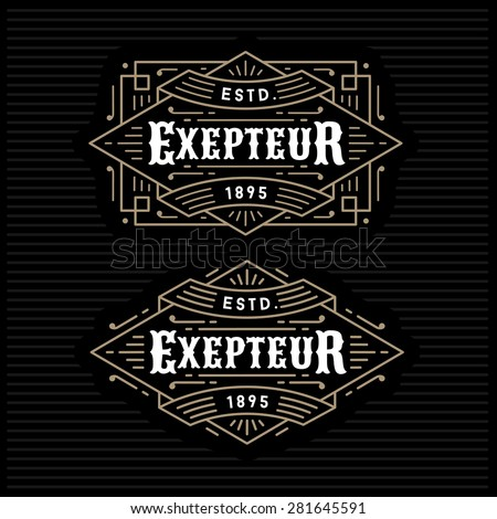 luxury antique gold monochrome art deco hipster minimal geometric vintage linear vector frame , border , label  for your logo, badge or crest - stock vector
