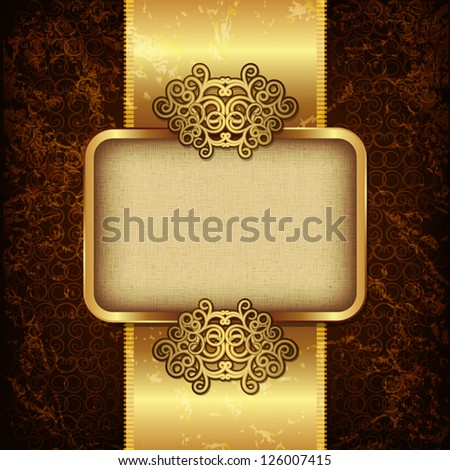 Luxury background with gold frame and satin ribbon - stock vector