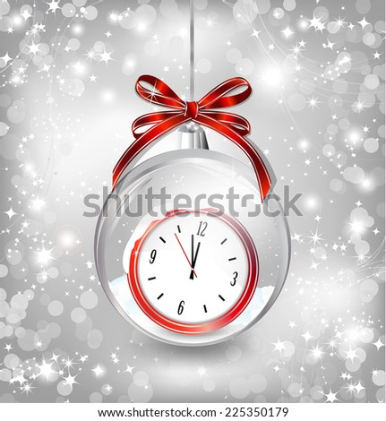 Luxury background with New year clock in Christmas ball, bow and snowflakes. Vector - stock vector