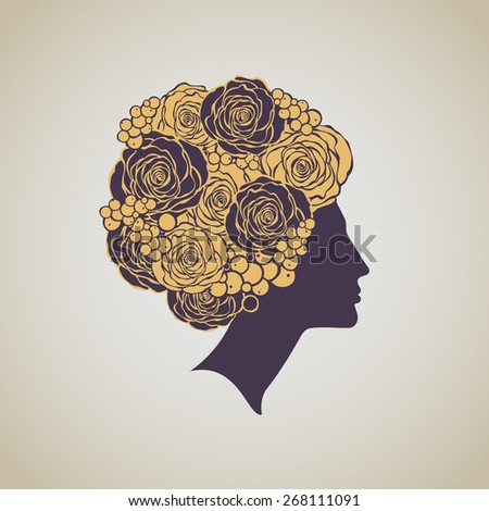 Luxury beautiful woman's profile with floral hair dress. Beauty  - stock vector