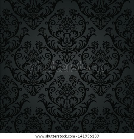Luxury black charcoal floral wallpaper pattern. This image is a vector illustration. - stock vector