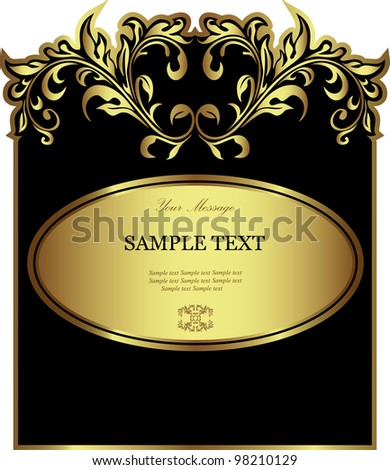 Luxury black gold-framed label