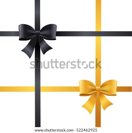 Luxury Bows and Ribbons Set Black and Gold Cross Tape. Vector illustration