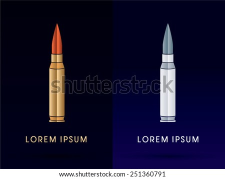 Luxury Bullet,designed using gold and silver color,logo, symbol, icon, graphic, vector. - stock vector