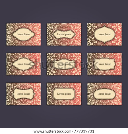 Luxury business card set design with oriental floral mandala elements.