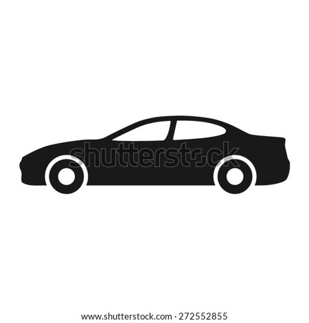 Luxury car (automobile) side view flat icon for apps and websites - stock vector