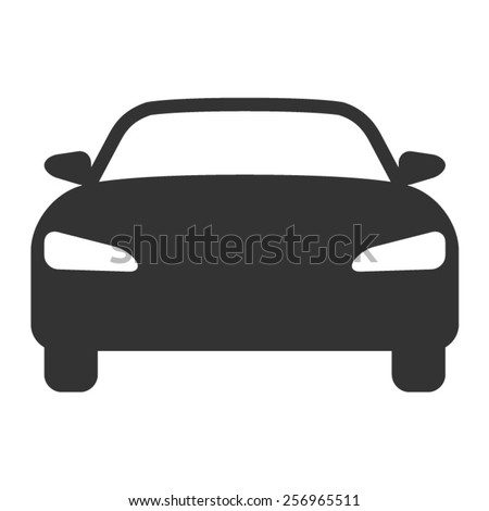 Luxury car front view flat icon - stock vector