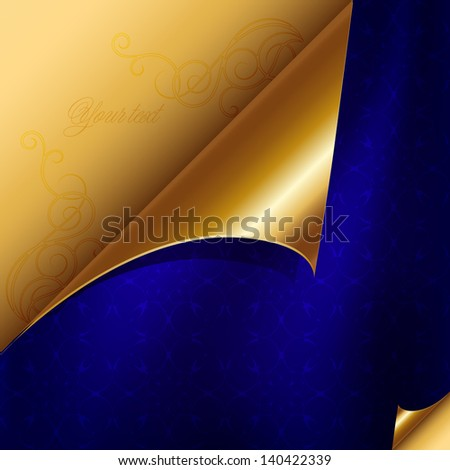Luxury card in gold and blue design. The idea for the title or invitation - stock vector