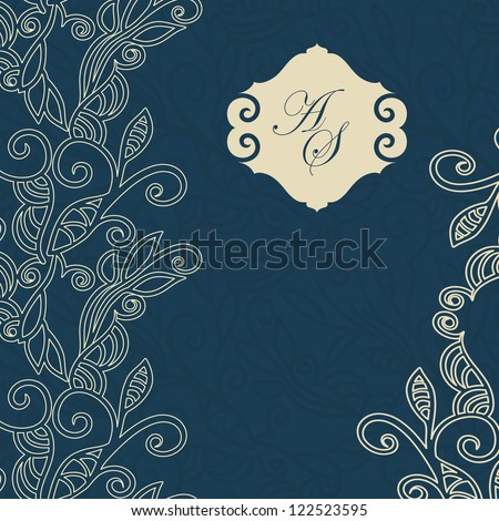 Luxury card with Floral design elements, seamless background, Lace design - stock vector