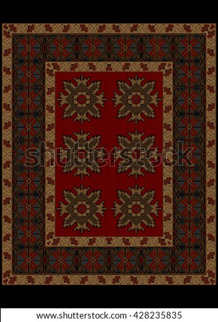 Luxury carpet with ethnic ornament on red mid and flowers on yellow border  - stock vector