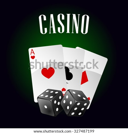 Luxury casino icon with playing cards and black dice, for gaming industry or gambling themes - stock vector