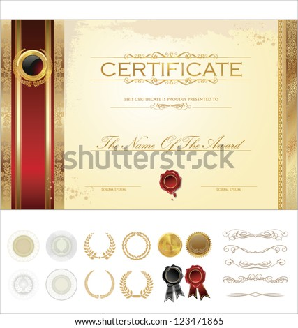 Luxury certificate template - stock vector