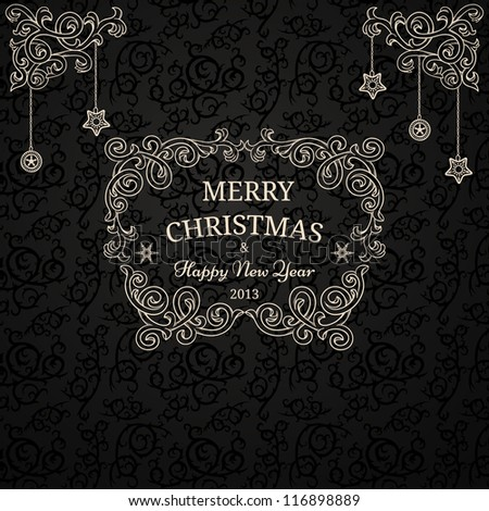 Luxury Christmas card on black pattern - stock vector