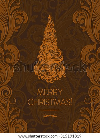 Luxury Christmas greeting card with christmas tree made of brown orange swirls, with brown and dark-brown background good for flyers, brochures, backdrops, wall paper or as element of bigger design - stock vector