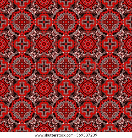 Luxury colorful floral seamless pattern background. Ornamental round lace pattern, circle red gray black background - stock vector