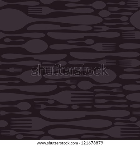 Luxury cutlery icon seamless pattern background. Fork, knife and spoon silhouettes. Vector file layered for easy manipulation and customisation. - stock vector