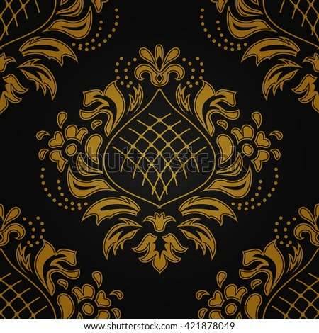 Luxury damascus seamless pattern of floral ornament wallpaper background in vintage style - stock vector