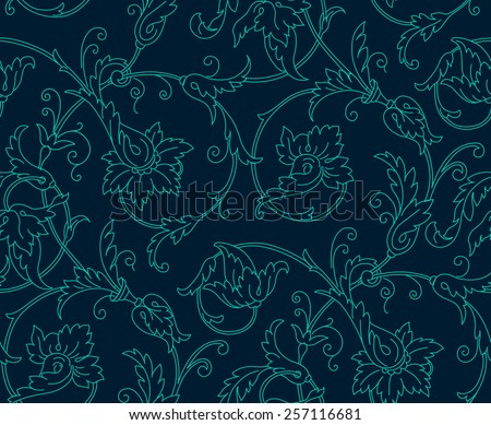 Luxury Damask seamless pattern. Blue color. Vector illustrations  - stock vector