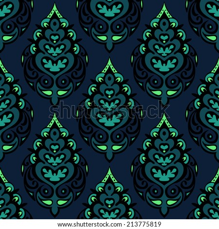 Luxury Damask seamless vector pattern floral design - stock vector