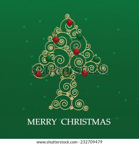 Luxury design gradient gold spiral christmas tree with ornaments on green  background. Green christmas background. Vector illustration christmas classic wallpaper.