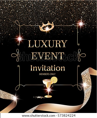 Luxury event invitation card vintage frame stock vector 573824224 luxury event invitation card with vintage frame and gold textured curly ribbon vector illustration stopboris Image collections