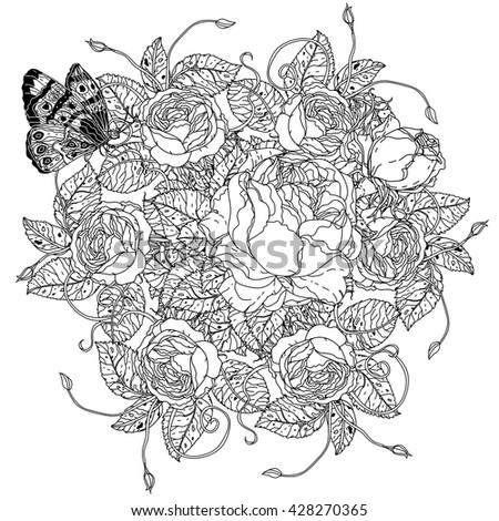 Vector Black White Floral Peacock Illustration Stock