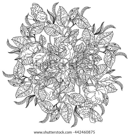 Roses Leaves Shape Mandala Old Masters Stock Vector