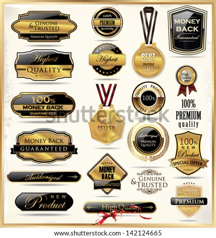 Luxury gold and black labels - stock vector