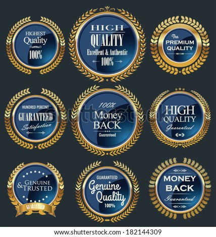 Luxury gold and blue labels with laurel wreath - stock vector