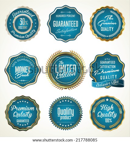 Luxury gold and blue premium quality labels collection - stock vector