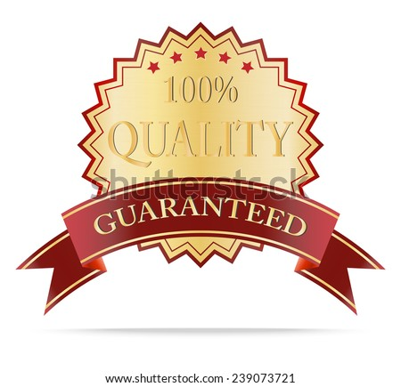 Luxury Gold and red ribbon quality guarantee shields label .Vector illustration - stock vector
