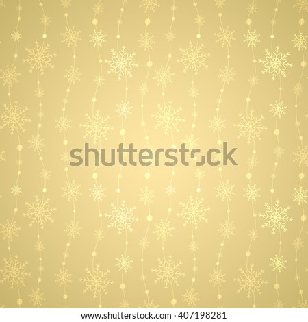 Luxury gold background with snowflake. Christmas decorations for your design. Celebratory pattern with snowflakes hanging on strings. - stock vector