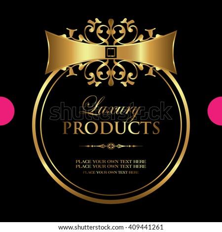 Luxury gold-framed label - stock vector
