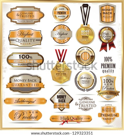 Luxury gold labels - stock vector