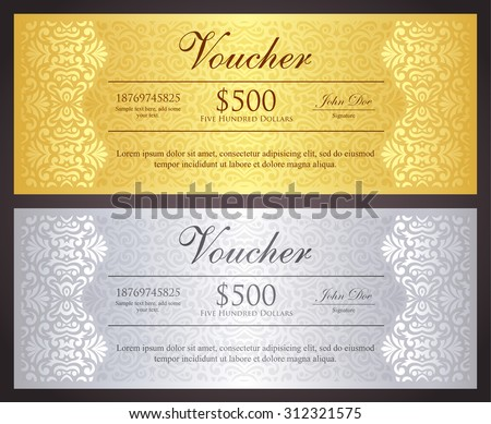 Luxury golden and silver gift certificate in vintage style - stock vector
