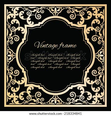 Luxury golden frame template. - stock vector