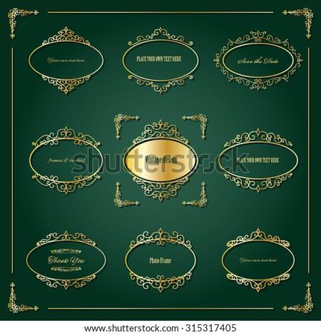 Luxury golden frames and design elements. - stock vector