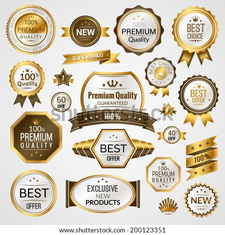 Luxury golden premium quality best choice labels set isolated vector illustration - stock vector
