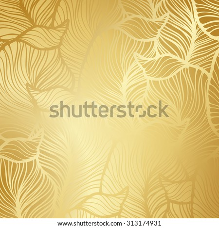Luxury golden wallpaper. Vintage Floral pattern Vector background.  - stock vector
