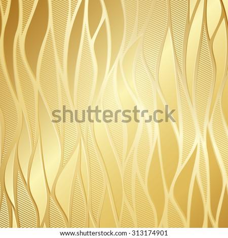Luxury Golden Wallpaper Vintage Wave Pattern Vector Background