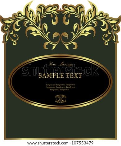 Luxury green gold-framed label. Vector illustration.