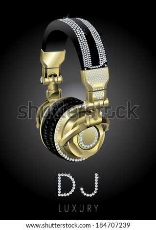 luxury headphones to listen to music with style Gold - stock vector