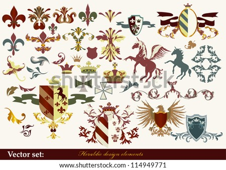 Luxury heraldic elements for design - stock vector